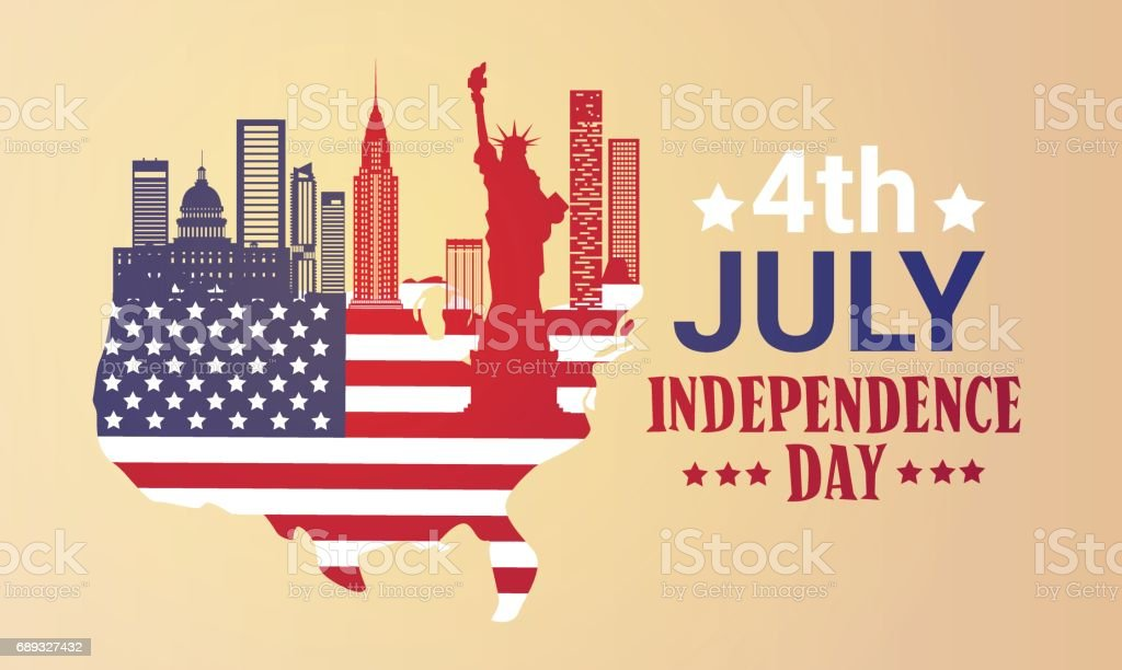 Silhouette United States Map With Landmarks Independence Day - Us map with landmarks