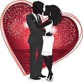 Silhouette Valentine Couple with Fireworks