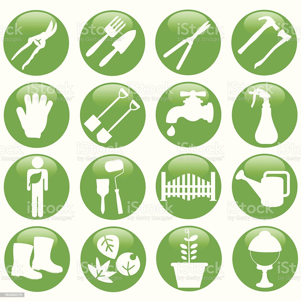 Silhouette : vector Icons related to Gardening Tools / equipments royalty-free stock vector art