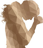 Low poly silhouette woman on white background.