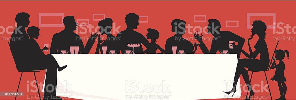 Silhouette vector of a large family having dinner vector art illustration