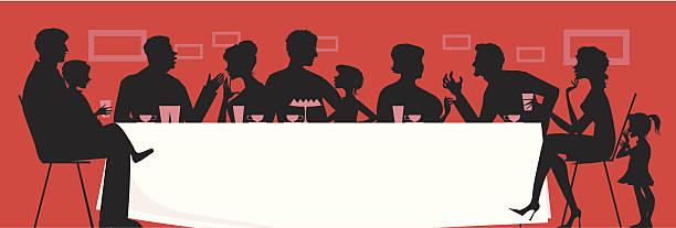 silhouette vector of a large family having dinner - family dinner stock illustrations