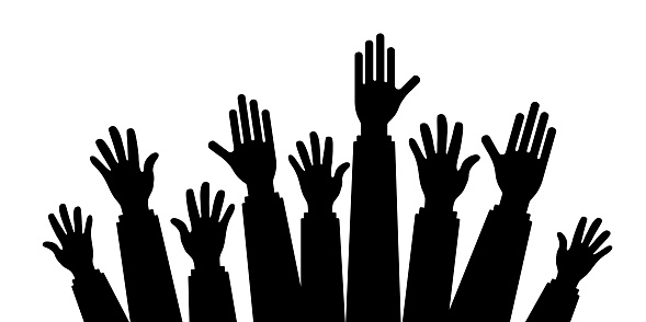 silhouette vector of Many Hands raise high up on white background,Silhouette set of hands, Large group of people with raising hands isolated on white, vector