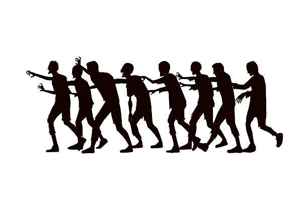 bildbanksillustrationer, clip art samt tecknat material och ikoner med silhouette vector zombie group walking. - zombie