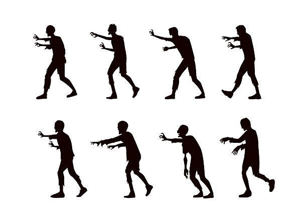 bildbanksillustrationer, clip art samt tecknat material och ikoner med silhouette vector zombie walking. - zombie