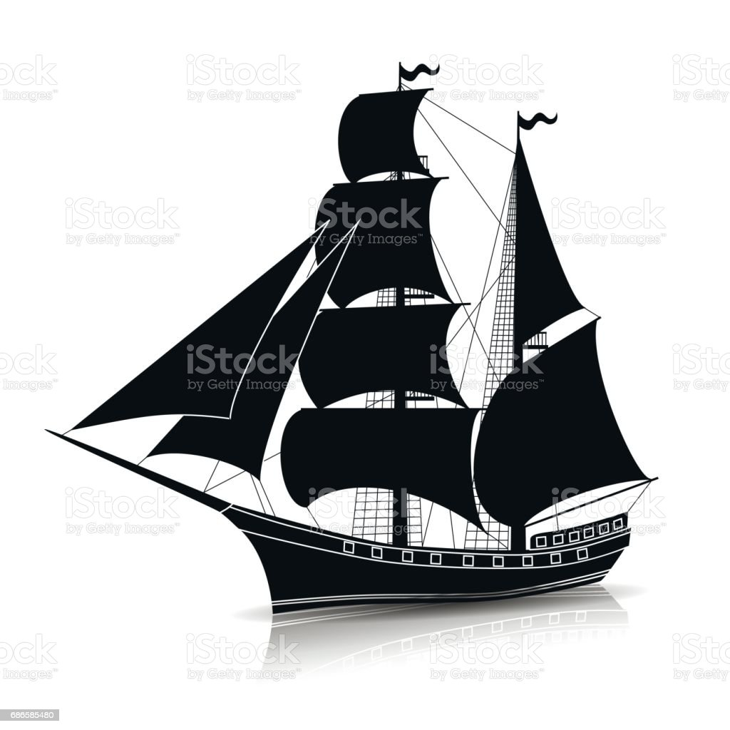 Silhouette Vintage Sailing Ship With Reflection Stock ... Sailing Ship Vector