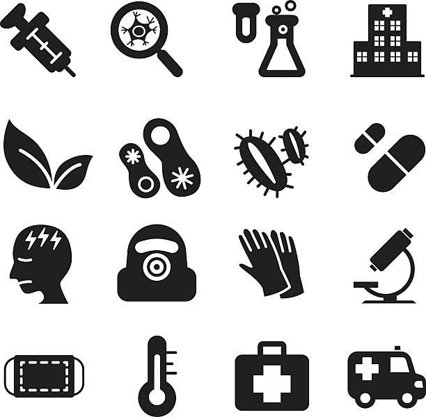 силуэт вирус diaster набор иконок - карниз stock illustrations