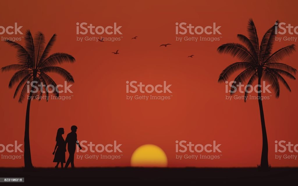 Silhouette walking couple on beach in flat icon design under sunset sky background vector art illustration