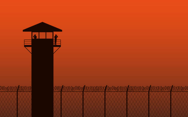 Silhouette watch tower and barbed wire fence in flat icon design on orange color background Silhouette watch tower and barbed wire fence in flat icon design on orange color background tower stock illustrations