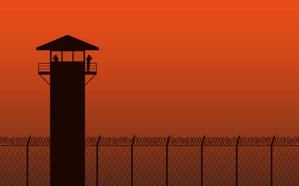 illustrations, cliparts, dessins animés et icônes de tour de guet de silhouette et de la clôture de barbelés dans la conception de plat icône sur fond de couleur orange - prison