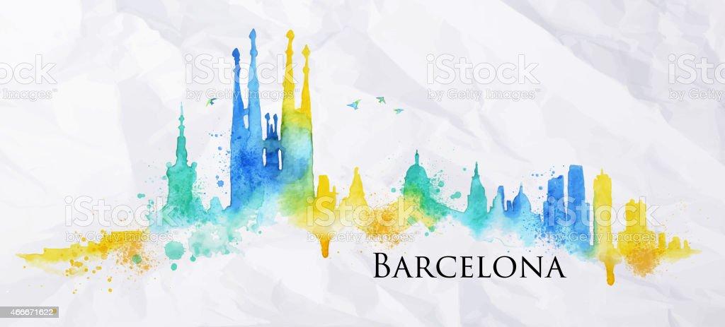 Silueta de acuarela Barcelona - ilustración de arte vectorial