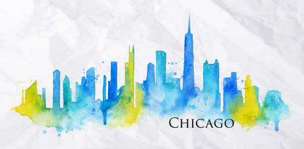 Silhouette watercolor Chicago Silhouette of Chicago city painted with splashes of watercolor drops streaks landmarks in blue with yellow chicago stock illustrations