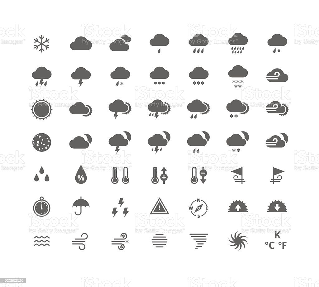 Silhouette weather icons set. Isolated on white background. vector art illustration