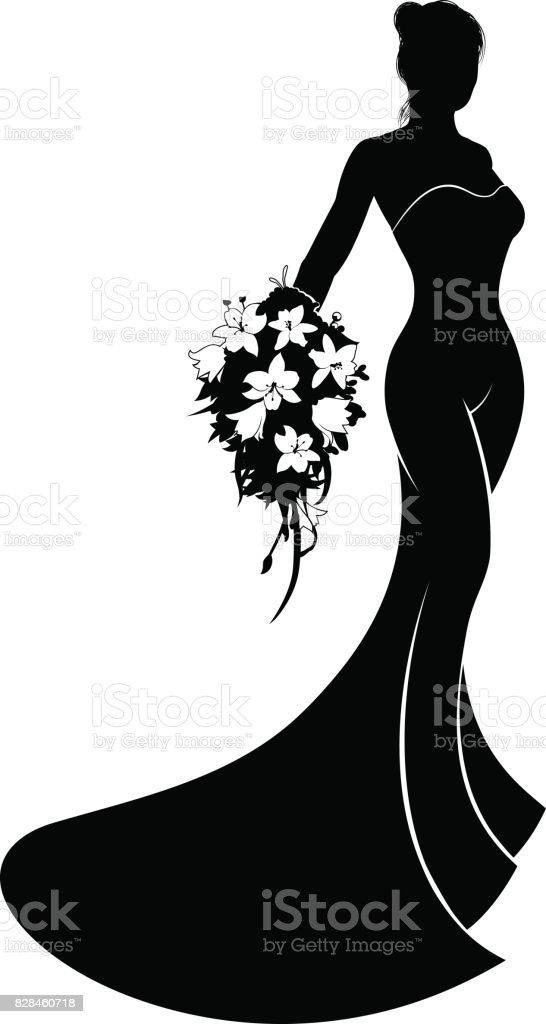 Silhouette Wedding Dress Bride Stock Vector Art & More Images of ...