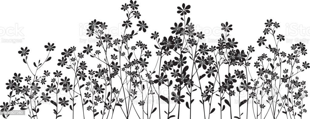 Silhouette wildflowers on white vector art illustration