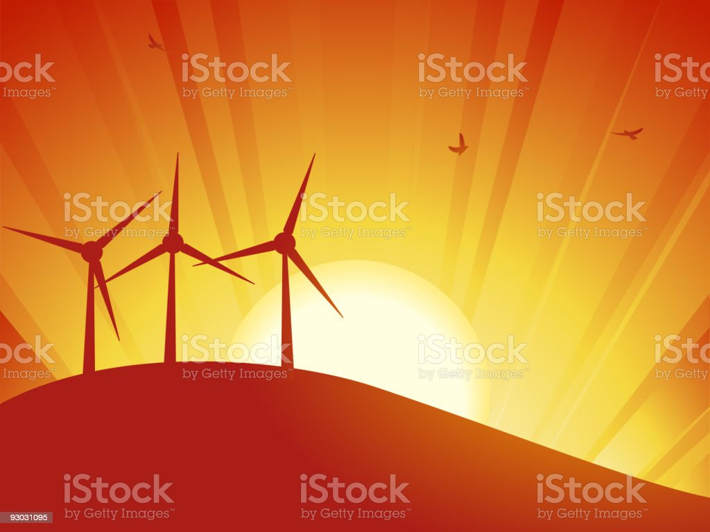 silhouette wind turbines royalty-free stock vector art