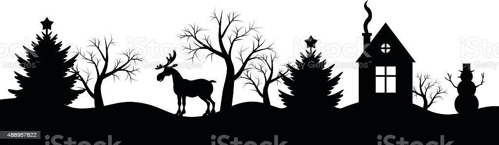 silhouette der winter weihnachten landschaft vektor. Black Bedroom Furniture Sets. Home Design Ideas
