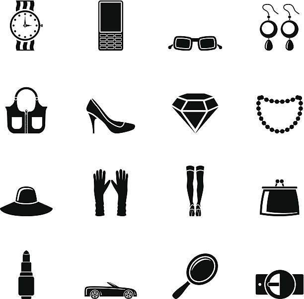 Silhouette woman and female Accessories icons Silhouette woman and female Accessories icons - vector illustration formal glove stock illustrations