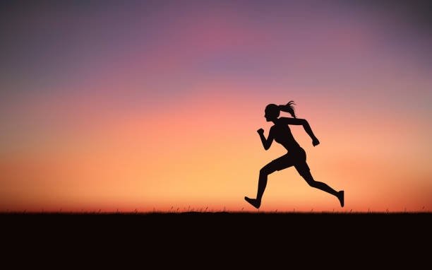 bildbanksillustrationer, clip art samt tecknat material och ikoner med siluett kvinna sprint körs under solnedgången himmel bakgrund - jogging hill