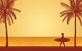 Silhouette woman surfer carrying surfboard on beach under sunset sky