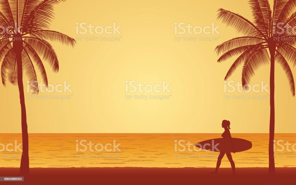Silhouette woman surfer carrying surfboard on beach under sunset sky - ilustración de arte vectorial