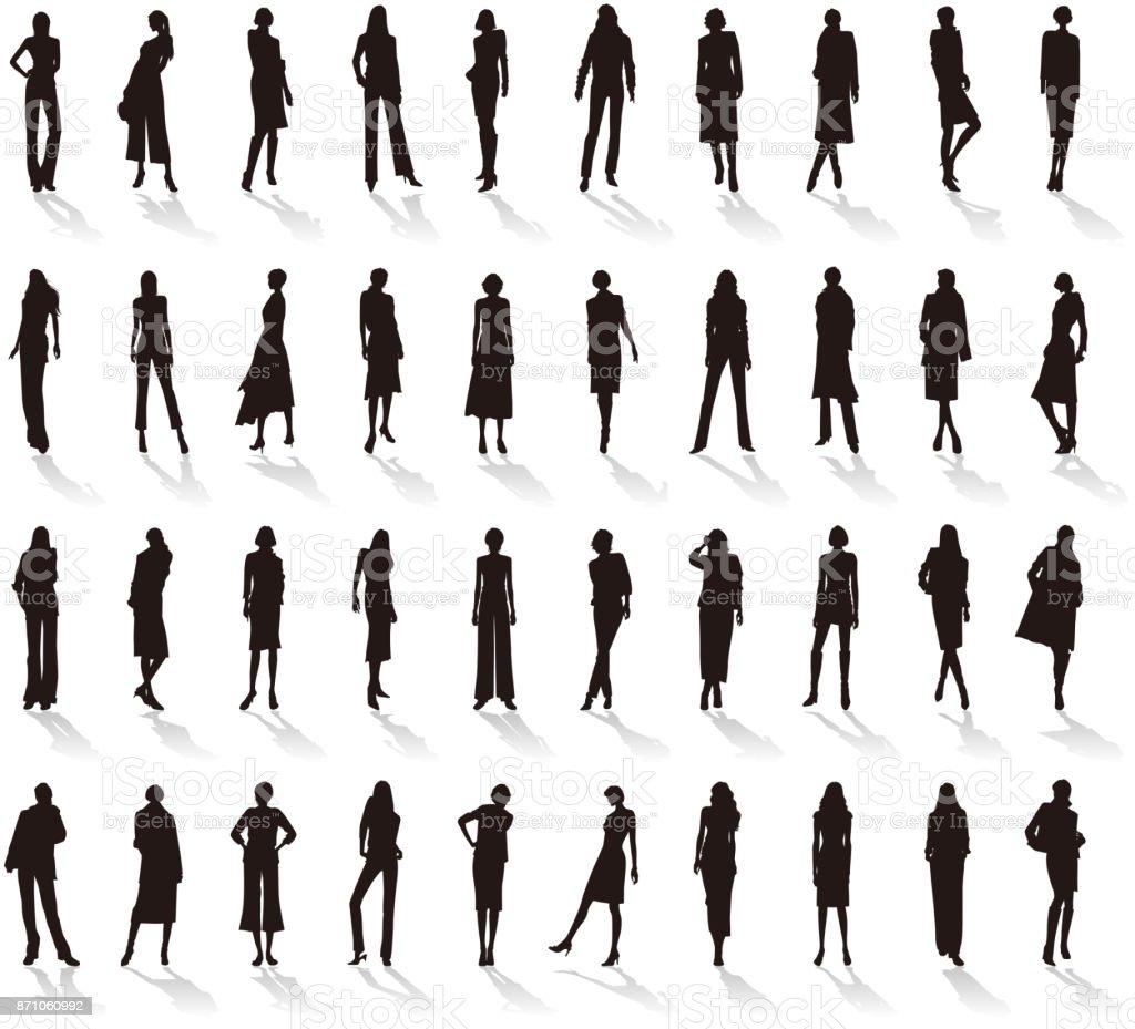 Silhouette / Women's fashion vector art illustration