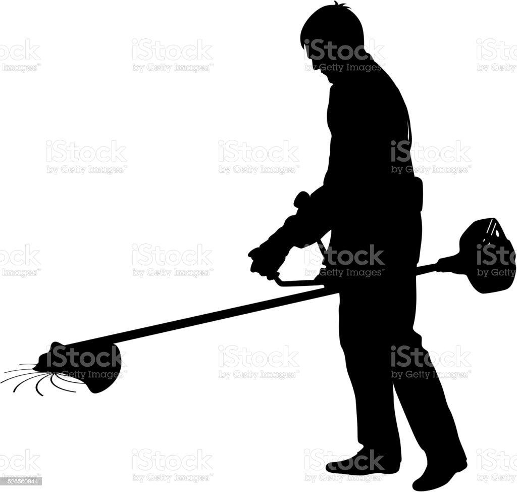 royalty free man mowing lawn clip art vector images illustrations rh istockphoto com man cutting grass clip art lawn mower cutting grass clip art