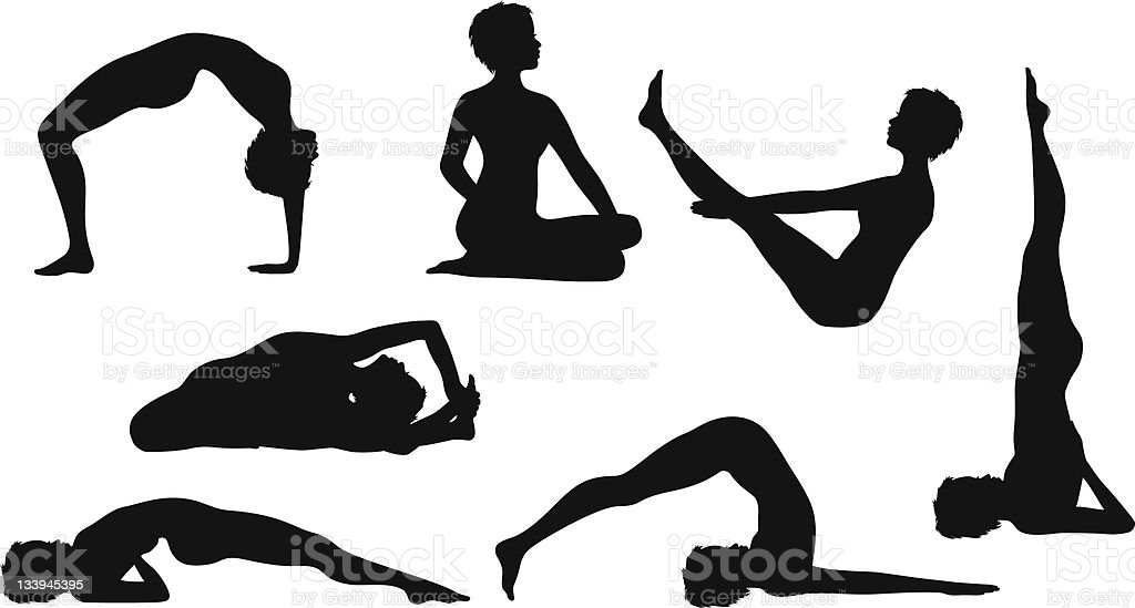 Silhouette Yoga Poses with Women royalty-free stock vector art