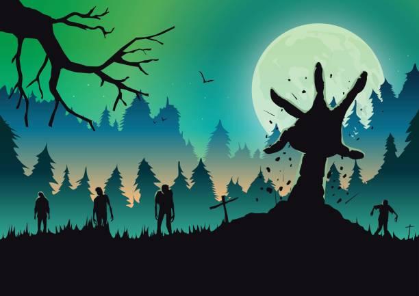 bildbanksillustrationer, clip art samt tecknat material och ikoner med silhouette zombie armen ut från marken i en fullmåne natten. - zombie