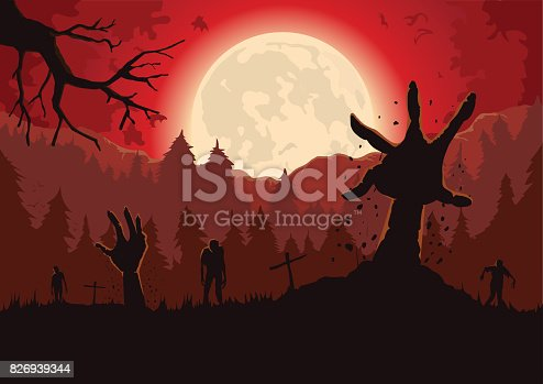 Silhouette Zombie arm reaching out from ground of grave in a full moon night and red sky.