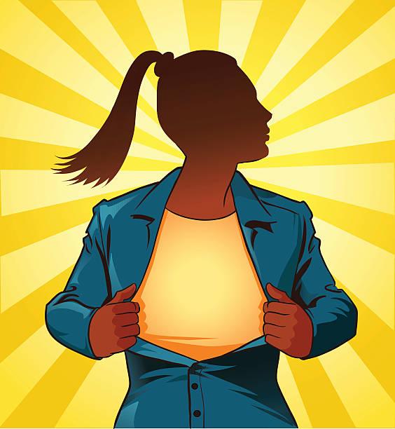 umrisse weibliche super hero zerreißen off-hemd - superwoman stock-grafiken, -clipart, -cartoons und -symbole