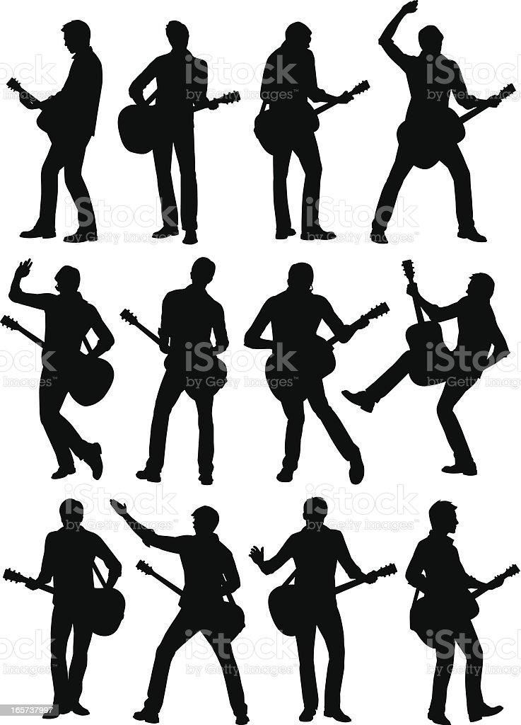 12 silhouetted guitar player icons on white background vector art illustration
