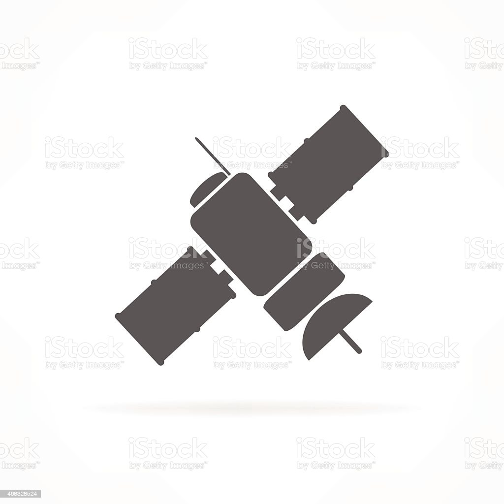 Silhouetted satellite icon on a white background vector art illustration