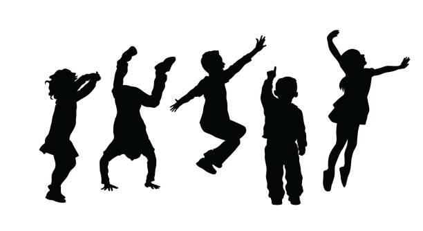 SilhouetteOfHighEnergyActiveKids Silhouette Of High Energy Active Kids jumping stock illustrations