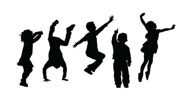 silhouetteofhighenergyactivekids - jumping stock illustrations