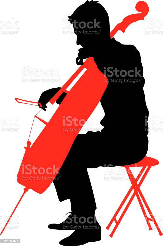 Silhouettes A Musician Playing The Cello Vector Illustration Royalty Free