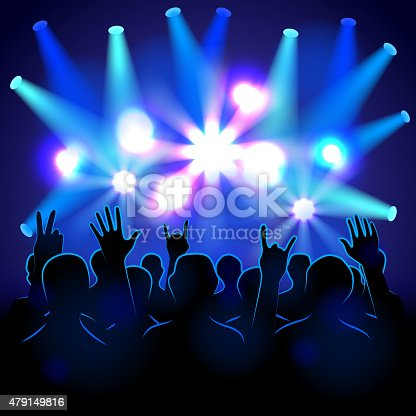 istock Silhouettes and lights on musical concert 479149816