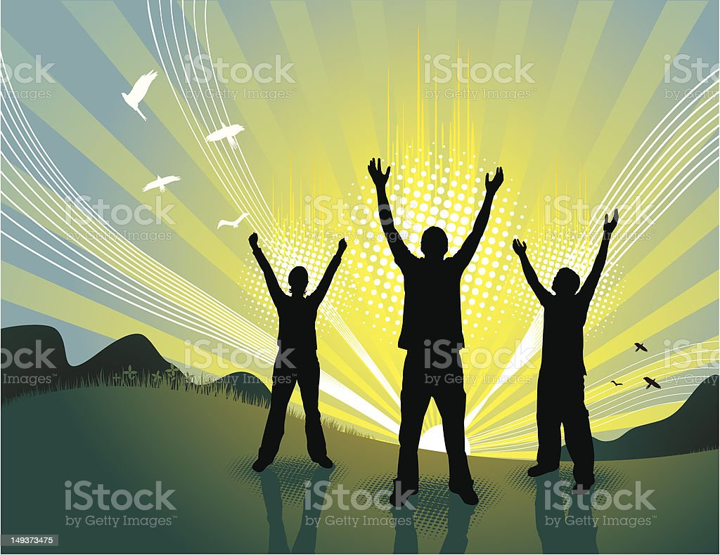 Silhouettes at Sunrise royalty-free stock vector art