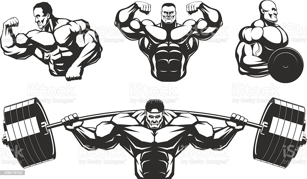 Silhouettes athletes bodybuilding vector art illustration