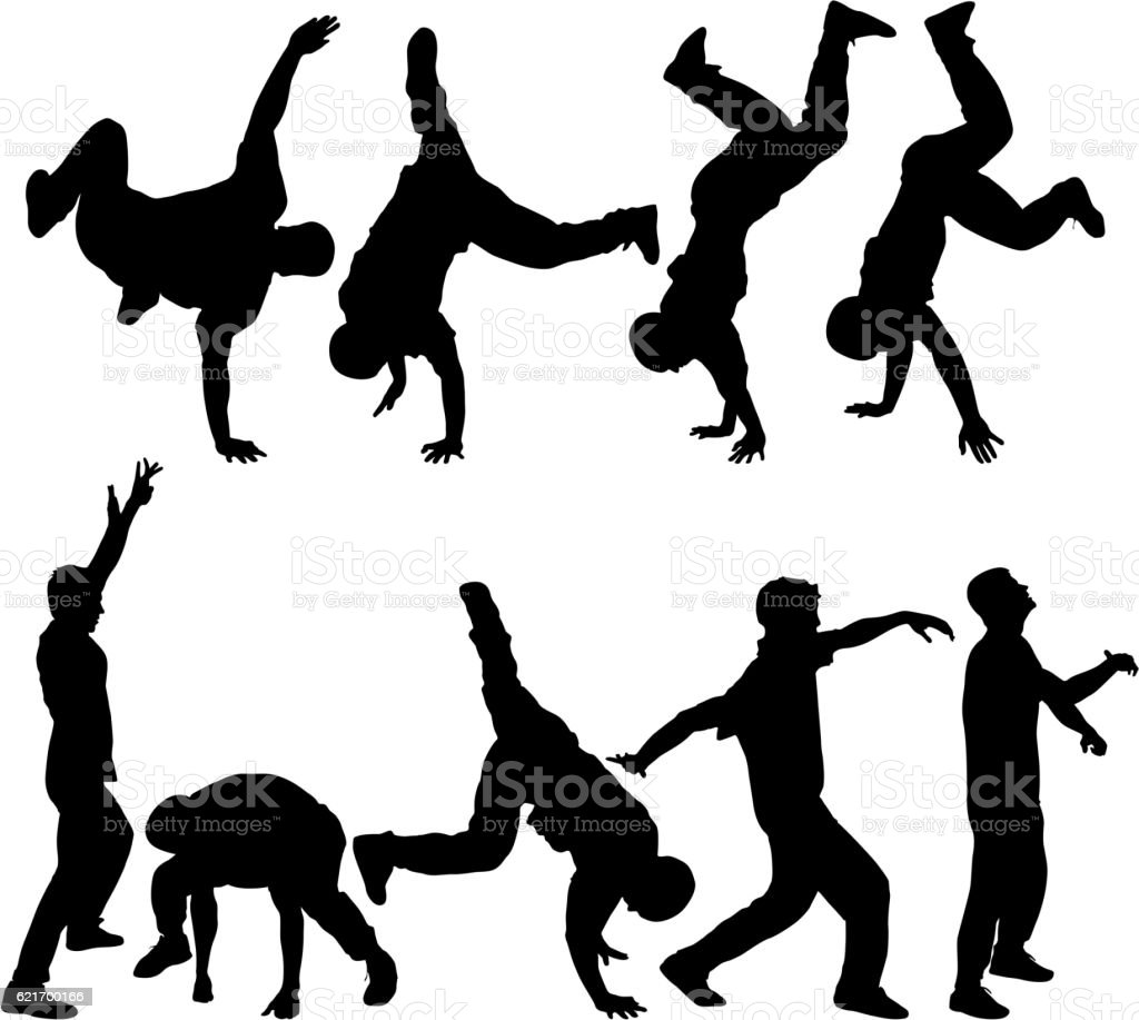 Silhouettes breakdancer on a white background. Vector illustration vector art illustration
