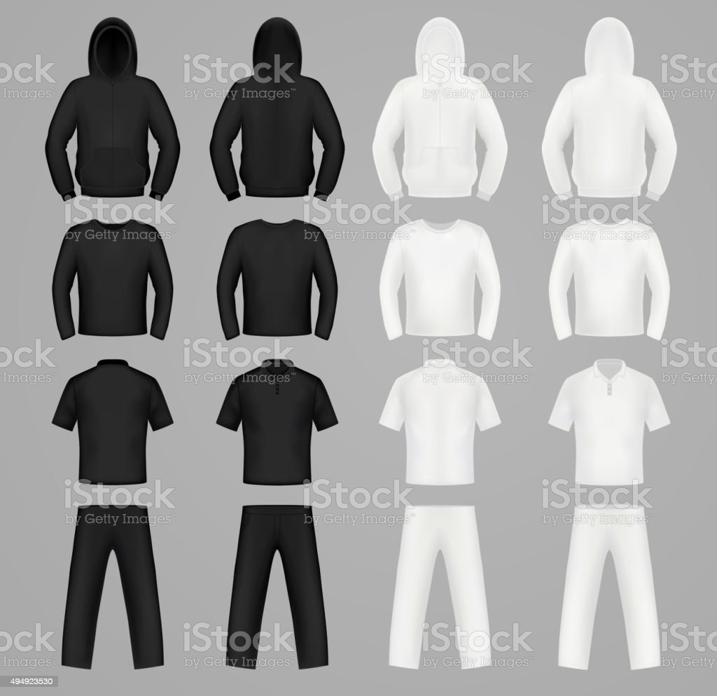 Silhouettes clothes black and white colors, hoodie, t-shirt and vector art illustration