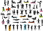 Silhouettes collection of people enjoying summertime beach holidays vacations. man, woman, couple sunbath, swim, floating, lying on inflatable rings and mattress, hammock, drinking cocktails