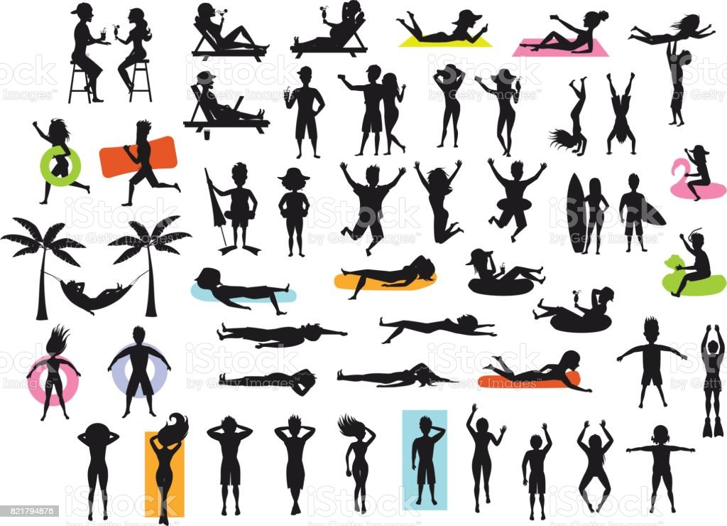 Silhouettes collection of people enjoying summertime beach holidays vacations. man, woman, couple sunbath, swim, floating, lying on inflatable rings and mattress, hammock, drinking cocktails vector art illustration