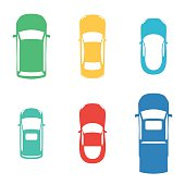 Silhouettes colored cars top view on white background. Vector illustration for print design wrapping paper, web background on your website and promotional materials