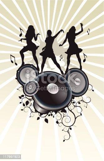 istock Silhouettes dancing in audio speakers 117997923