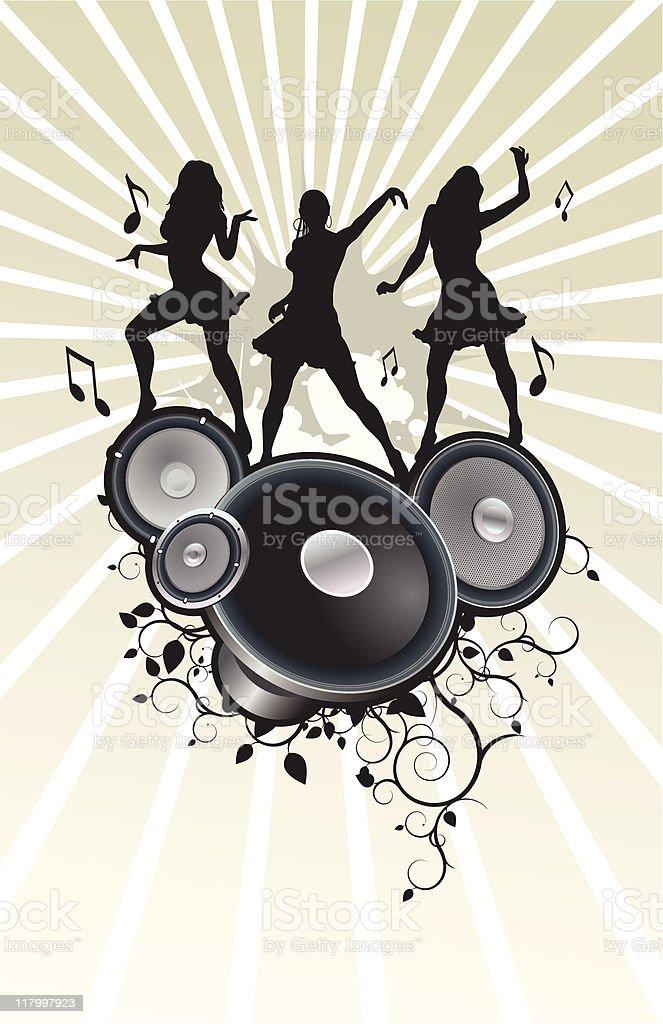 Silhouettes dancing in audio speakers vector art illustration