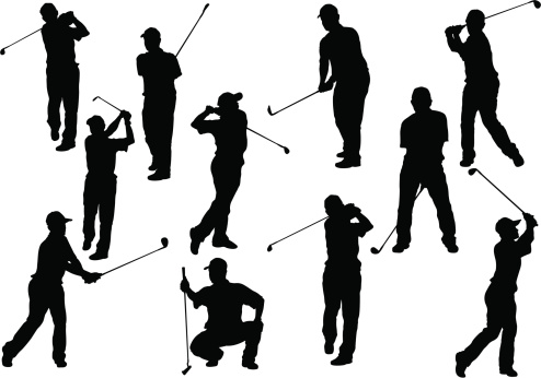 Silhouettes depicting a Golfer that is in many positions