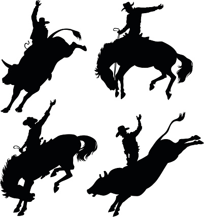 Silhouettes Depicting Rodeo