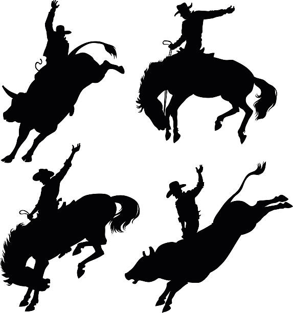 silhouettes depicting rodeo - rodeo stock illustrations, clip art, cartoons, & icons