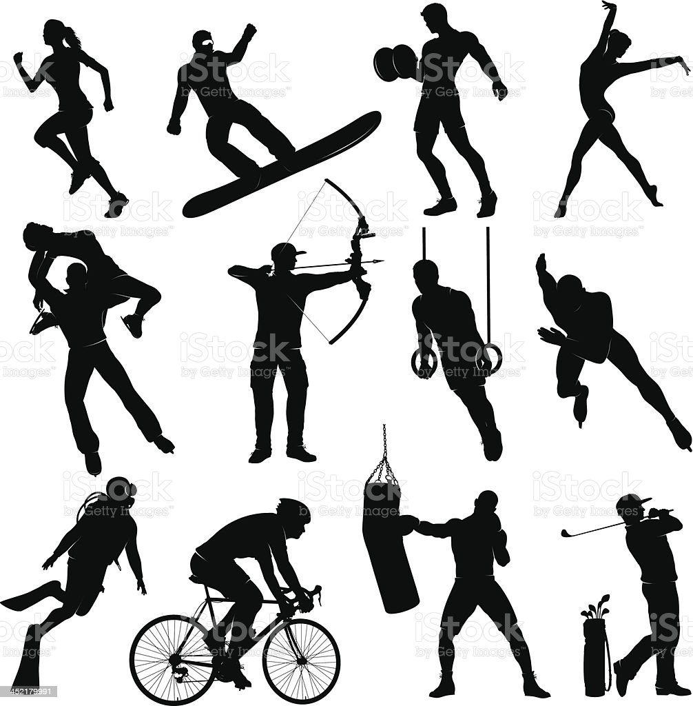 Silhouettes doing several different sports vector art illustration